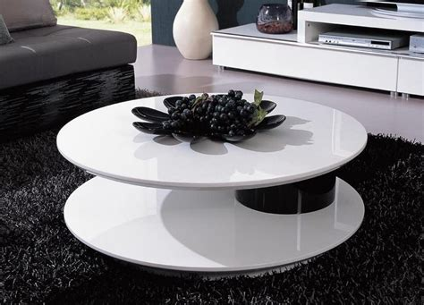Round Shaped Contemporary White And Black Coffee Table