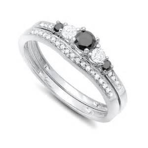 1 carat wedding ring sets luxurious 1 2 carat black and white wedding ring set in white gold jewelocean