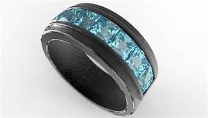 men39s black gold channel set aquamarine wedding band With mens aquamarine wedding ring