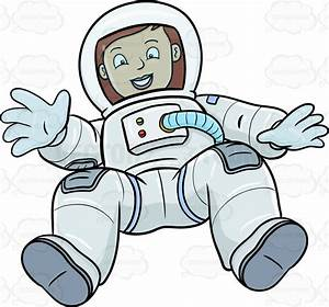 A Female Astronaut Happily Drifts In Space Vector Clip Art ...