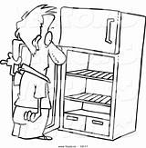 Fridge Empty Cartoon Drawing Coloring Refrigerator Outlined Staring Clipart Clip Outline Graphic Toonaday Imgkid Kid Drive 출처 sketch template