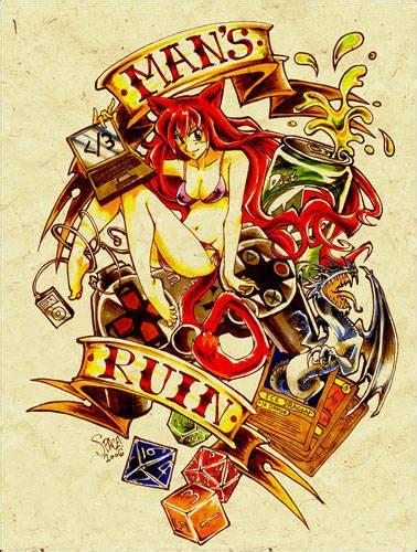 Popular Man's Ruin Gambling Tattoo Graphic For Girls
