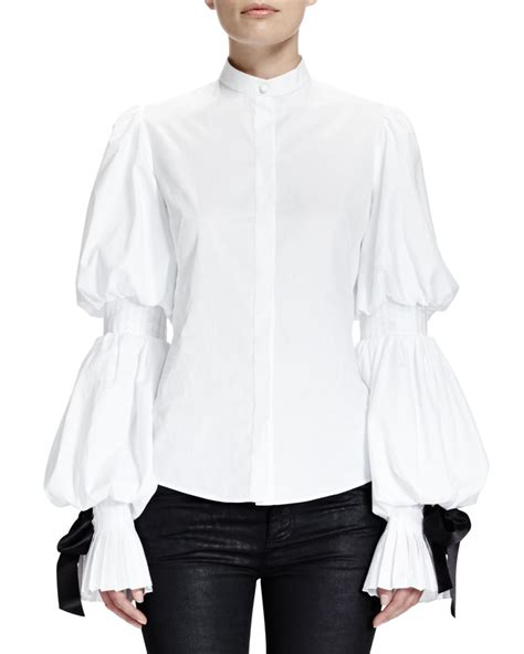 white blouse sleeve mcqueen puffed sleeve blouse w ribbon cuffs in