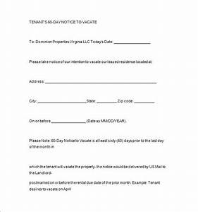 Notice templates 104 free word pdf format download for Template for 60 day notice to vacate