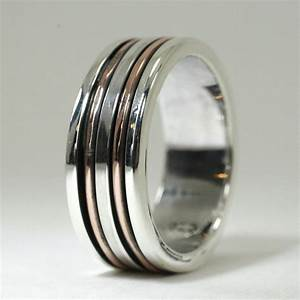 custom made mens sterling and copper wedding band by earth With mens copper wedding rings