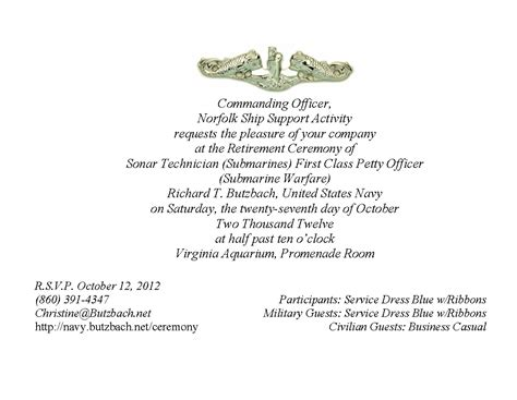 army retirement ceremony retirement ceremony invitations