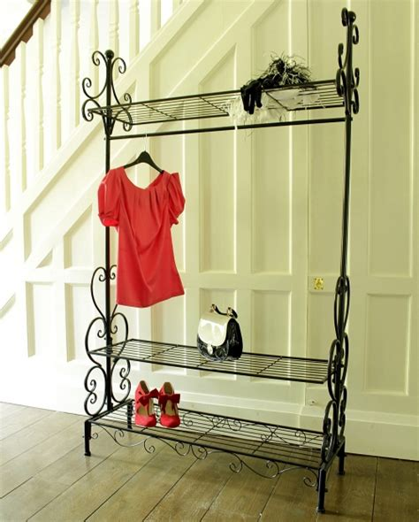 Decorative Clothing Racks Uk by Black Ornate Metal Hanging Clothes Rail Shabby Style Home