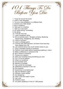 list ideas 101 things to do before you die