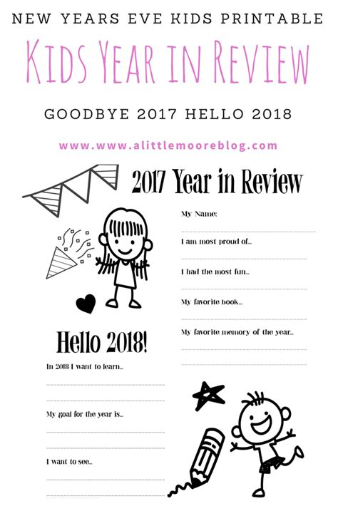 2017 Kids Year In Review Printable New Years Eve Activity