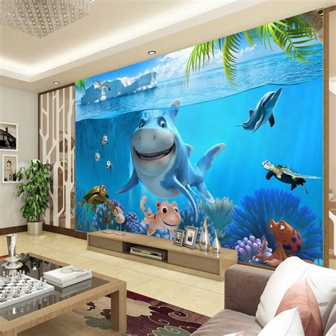 cute shark wallpaper underwater world wall mural custom
