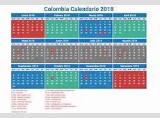 Calendario de Colombia 2018 días festivos, feriados y