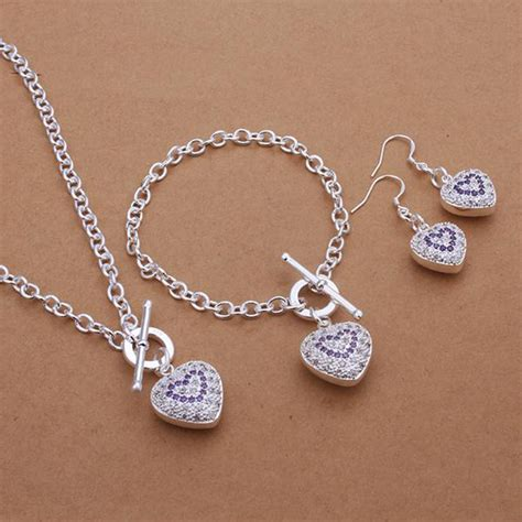 silver solid ladies heart jewelry set fashion necklace