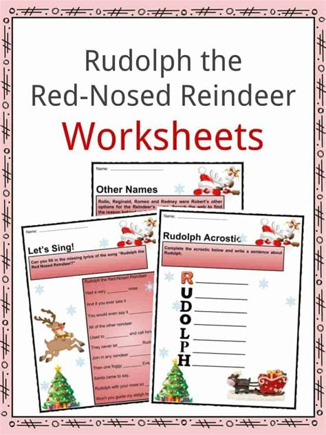 rudolph  red nosed reindeer facts worksheets  kids