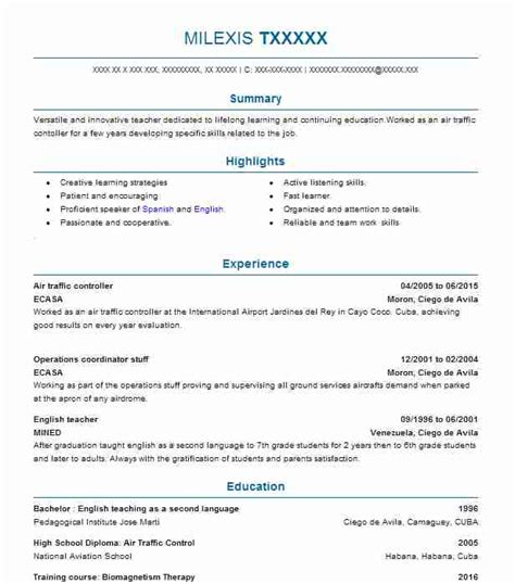 Air Resume by Air Traffic Controller Resume Sle Resumes Misc