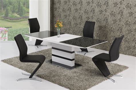 small extending black glass white gloss dining table and 6