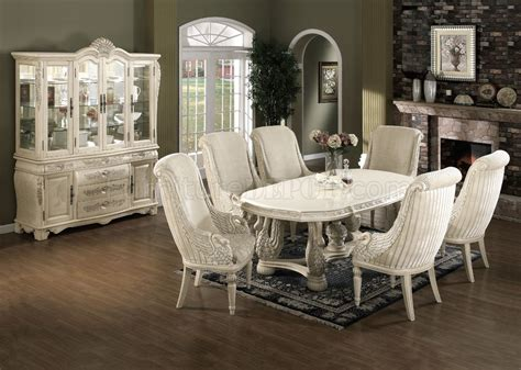 genuine marble top ivory white classic pc dining set
