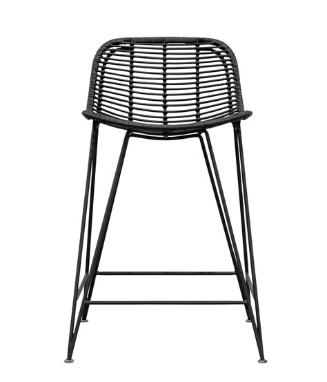 Rattan Barhocker by Rattan Weave Bar Stool Black