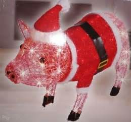 27 034 santa pig lighted acrylic indoor outdoor pink christmas yard decor new ebay