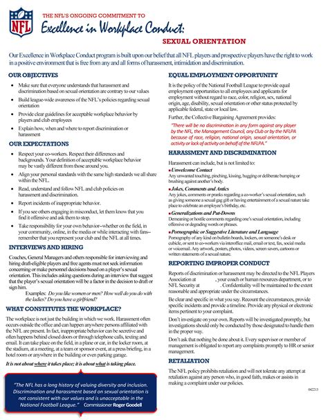 workplace harassment policy template nfl memo outlines sexual orientation anti harassment policy tarnished twenty
