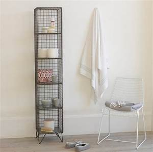 18 smart diy bathroom storage ideas and tricks worth for Metal bathroom shelving unit