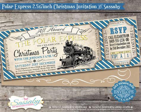 express template polar express invitation blue