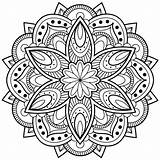 Coloring Pages Mandala Abstract Printable Flower Mandalas Cool Adult Rocks Young Simple sketch template