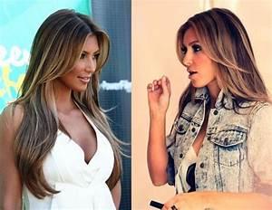 Braune Haare Mit Highlights : sexy kim kardashian braune haare mit blonden highlights hair extensions ~ Frokenaadalensverden.com Haus und Dekorationen
