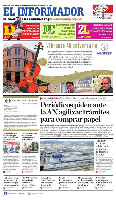 Noticias locales y las secciones siguientes: El informador 30 01 2014 by El Informador - Diario online Venezolano - Issuu
