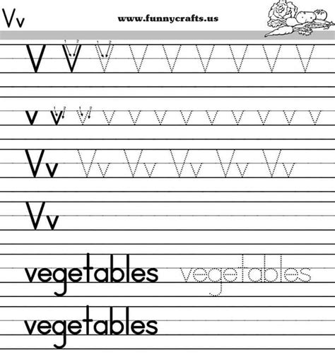 letter v handwriting worksheets for preschool to