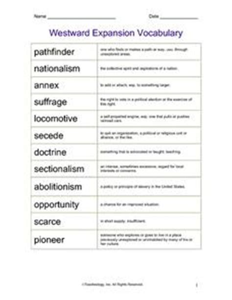westward expansion vocabulary 5th 8th grade worksheet