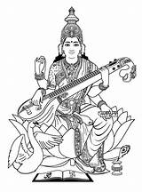 Saraswati Coloring India Adult Bollywood Pages Goddess Adults Drawing Outline Indian Hindu Gods Sketch Pencil Maa Justcolor Painting Woman Clipart sketch template