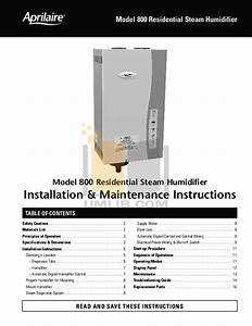 Pdf Manual For Aprilaire Humidifier 800