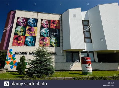 exterior of andy warhol museum of modern medzilaborce slovakia stock photo royalty free
