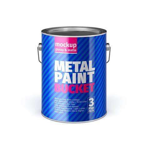 Opened matte paint bucket mockup. Metal Paint Bucket Mock-Ups on Behance