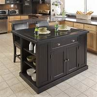 black kitchen island Shop Home Styles 48-in L x 37-in W x 36.25-in H Distressed Black Kitchen Island with 2 Stools at ...