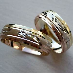 14k solid tricolor gold his and her wedding band ring set With gold wedding ring sets for her