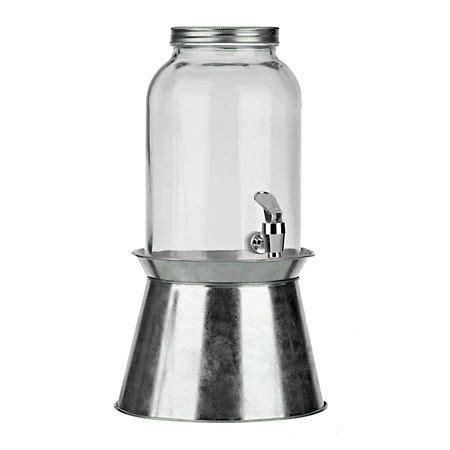 glass beverage dispenser  galvanized stand glass