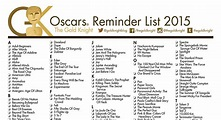 Oscars 2016: Printable Best Picture Reminder List | The ...