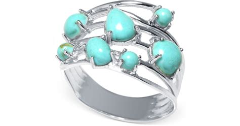 Macy's Manufactured Turquoise Multi-row Ring In Sterling Silver (1-5/8 Ct. T.w.) In Blue Online Jewelry Toronto From China Exchange Wedding Rings Pandora Retailers Estimates Villa Park Cny Fulton Ny Asian Uk