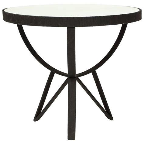 iron end table deco wrought iron side table gueirdon mirrored top 1930