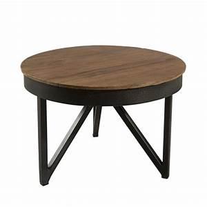 Table Basse Metal Ronde : table basse ronde 50cm bois teck pieds m tal tinesixe so inside ~ Teatrodelosmanantiales.com Idées de Décoration