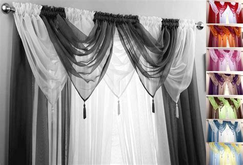 Black & White Voile Swags & Curtain Panels 9 Peice Set 48