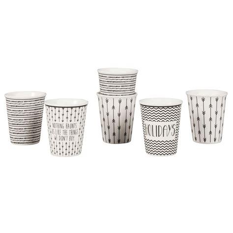 tasses en porcelaine blanche motifs noirstasse  cafe noir xxcm maisons du monde