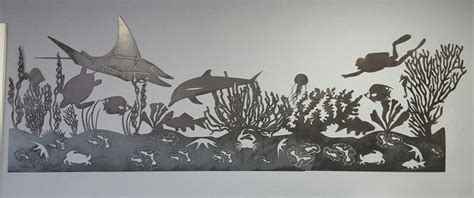 sea life mural metal wall art blue collar welding llc