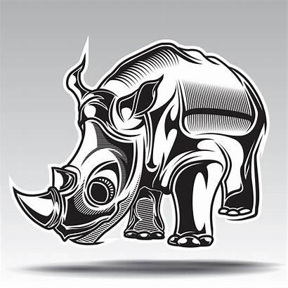 Rhino Illustration Drawn Hand Decorative Elements Vector