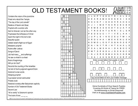 Old Testament Books!  Clue Search Puzzles  Combining Trivia, Crosswords, And Word Search