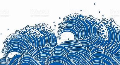 Wave Japanese Vector Illustration Waves Water Sea
