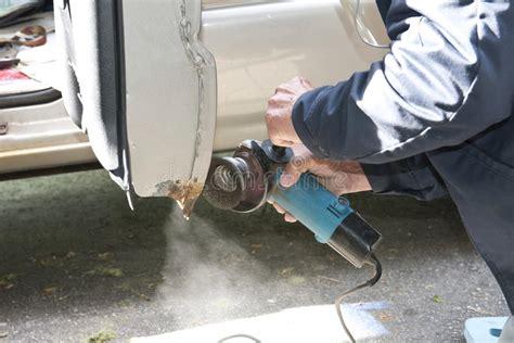 Car Repair Grinding To Remove Rust Stock Image Image