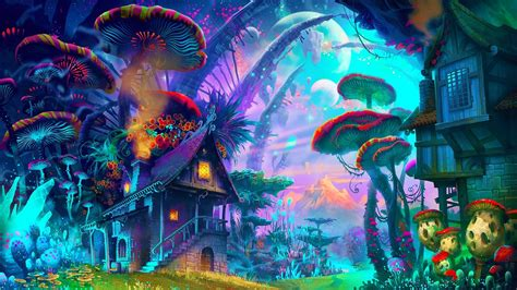 Fantasy Art Drawing Nature Psychedelic Colorful