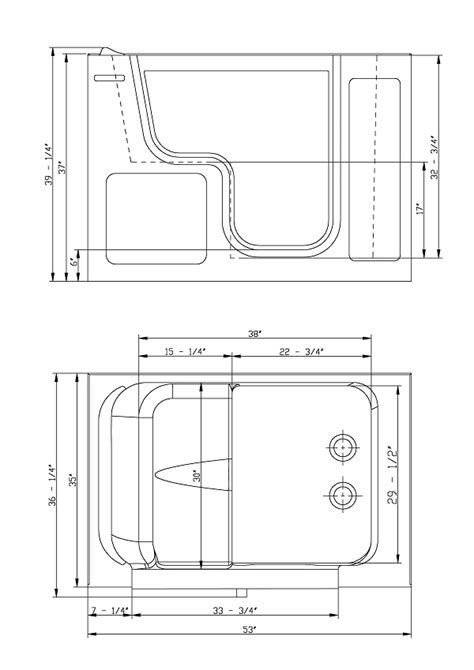 width of tub bathtubs with door walk in tubs
